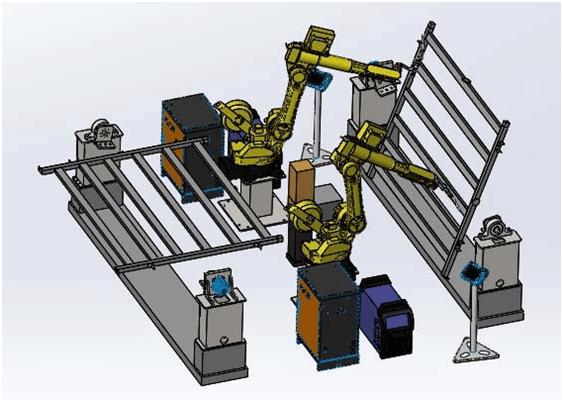 双焊接机器人双变位机焊接边框护栏
